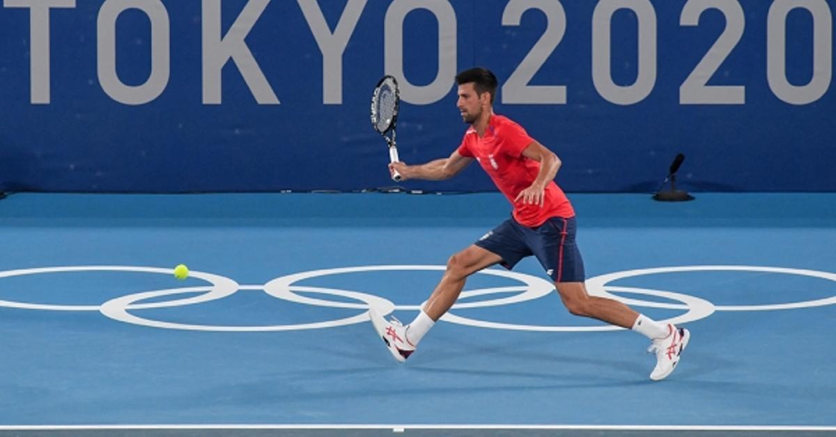 Djokovic, entrenando en Tokio.