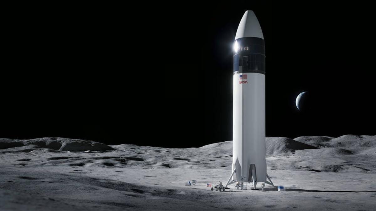 Simulación del HLS Starhip en la Luna.