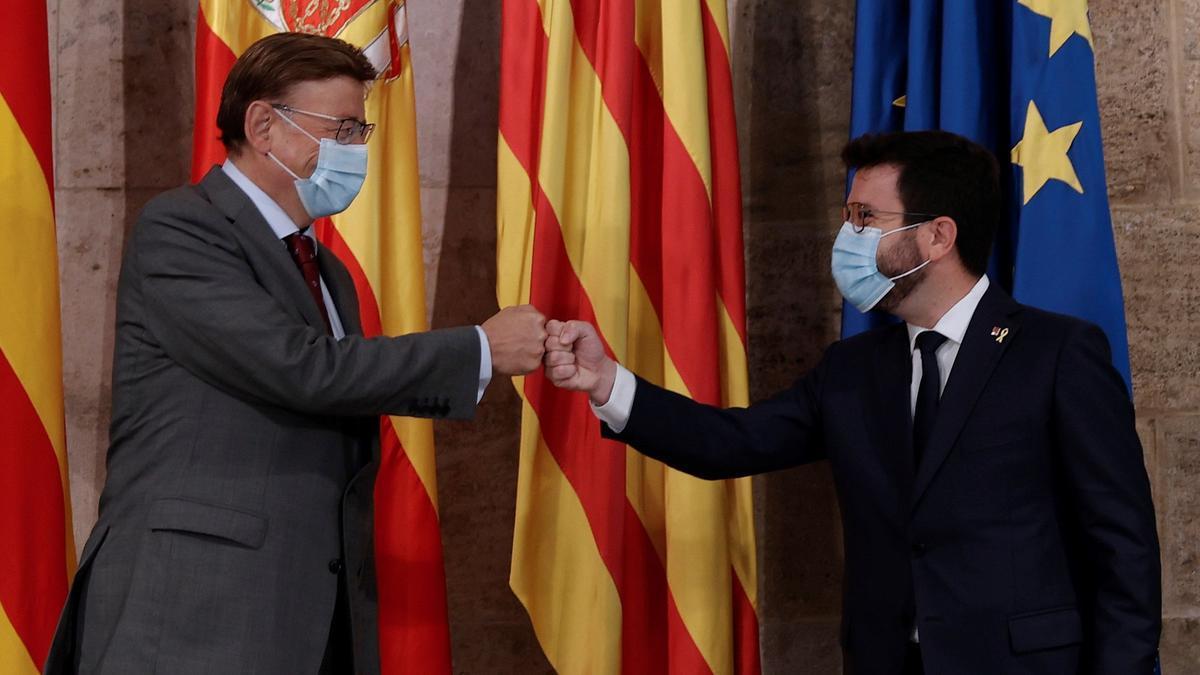 Reunión de Ximo Puig y Pere Aragonés en Valencia