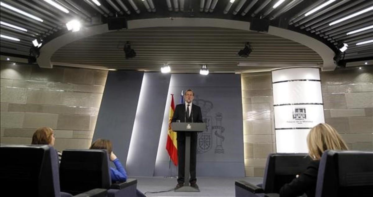 Mariano Rajoy, durante una comparecencia en el Palacio de la Moncloa, sede de la presidencia del Gobierno.