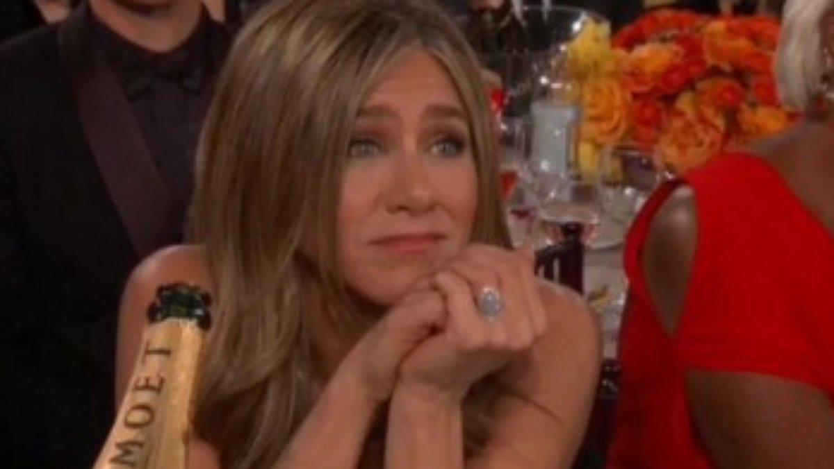 La cara de Jennifer Aniston durant el discurs de Brad Pitt ho diu tot