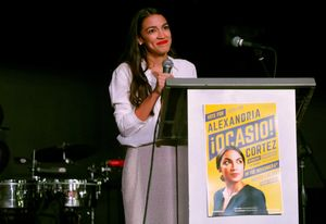 Democratic congressional candidate Alexandria Ocasio-Cortez speaks at her midterm election night party in New York City  U S  November 6  2018  REUTERS Andrew Kelly