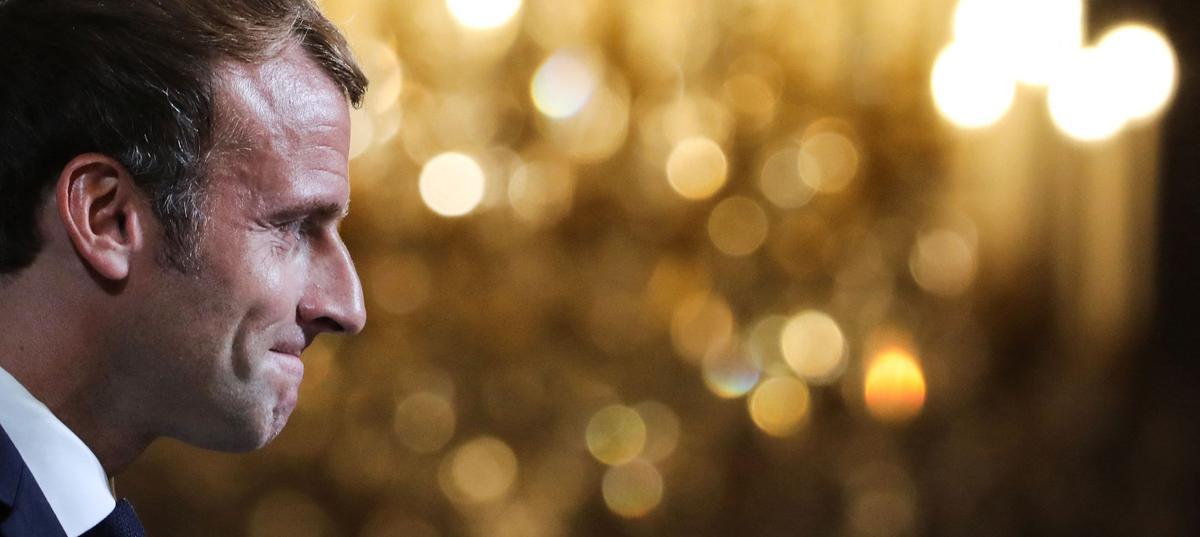 El presidente francés, Emmanuel Macron, el pasado lunes durante la ceremonia de entrega de la Legión de Honor en el Palacio del Elíseo.