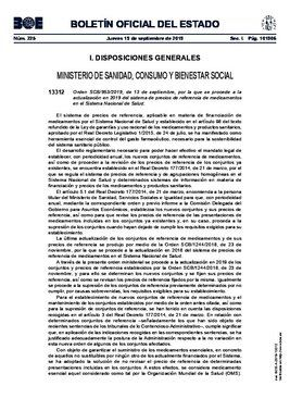 Boletín Oficial del Estado: medicamentos que bajan de precio el 1/11/2019