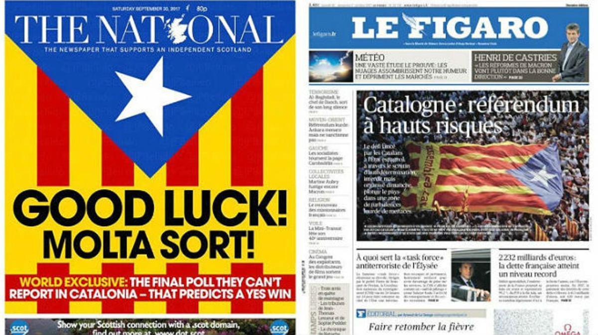 Las portadas del escocés 'The National' y del francés 'Le Figaro', de este sábado.