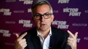 Víctor Font, en una entrevista en su sede electoral.