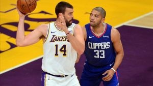 Dec 13  2020  Los Angeles  California  USA  Los Angeles Lakers center Marc Gasol (14) moves the ball against Los Angeles Clippers forward Nicolas Batum (33) during the first half at Staples Center  Mandatory Credit  Gary A  Vasquez-USA TODAY Sports