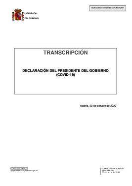 Declaración institucional de Pedro Sánchez este 23 de octubre de 2020 en la Moncloa.