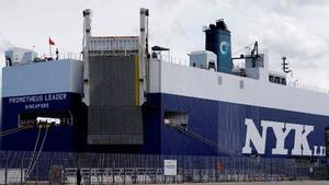 El buque de carga Prometheus Leader, en el puerto de Vigo