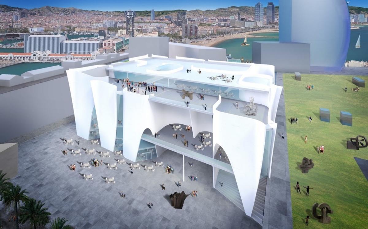 El edificio proyectado por Toyo Ito donde se ubicará el centro cultural del Hermitage en la Nova Bocana del puerto de Barcelona.