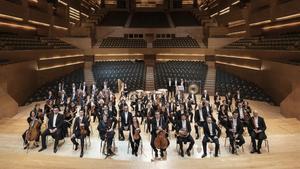 Los músicos de la OBC en el Auditori que en otoño volverá a dar conciertos en su sede.