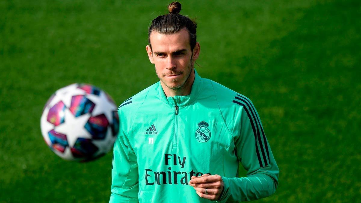 Gareth Bale, en el entrenamiento previo al Real Madrid-Manchester City.