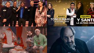 Imágenes de los especiales de Nochebuena de Antena 3, Telecinco, Telemadrid y TV3.