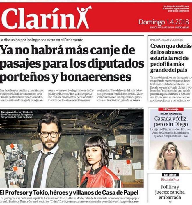 Portada del diario argentino 'Clarín', con la información de la serie española 'La casa de papel'.