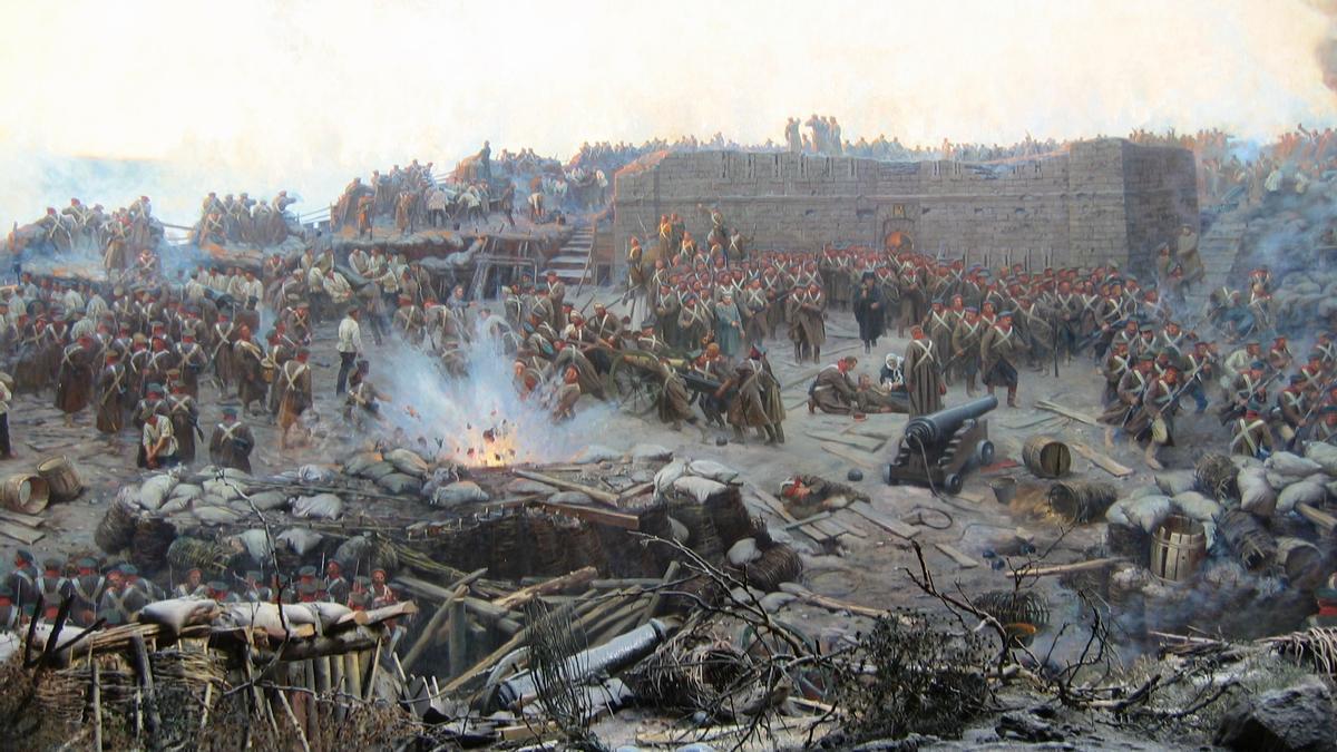 Detalle de la pintura panorámica 'El sitio de Sebastopol', de Franz Roubaud.