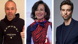 Andrés Iniesta, Ana Botín y Pau Gasol.