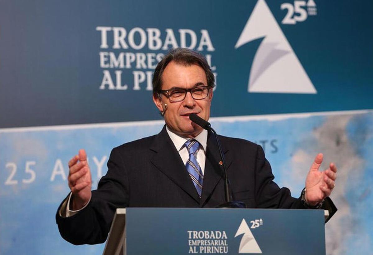 Artur Mas, durante el encuentro con empresario de este viernes en La Seu d'Urgell.