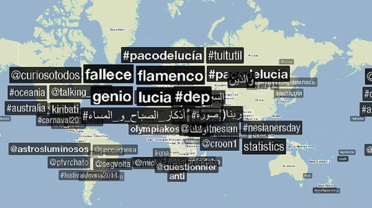 #pacodelucía, #fallece o #flamenco han sido los más recurrentes en las redes