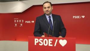 José Luis Ábalos, este martes en la sede del PSOE.