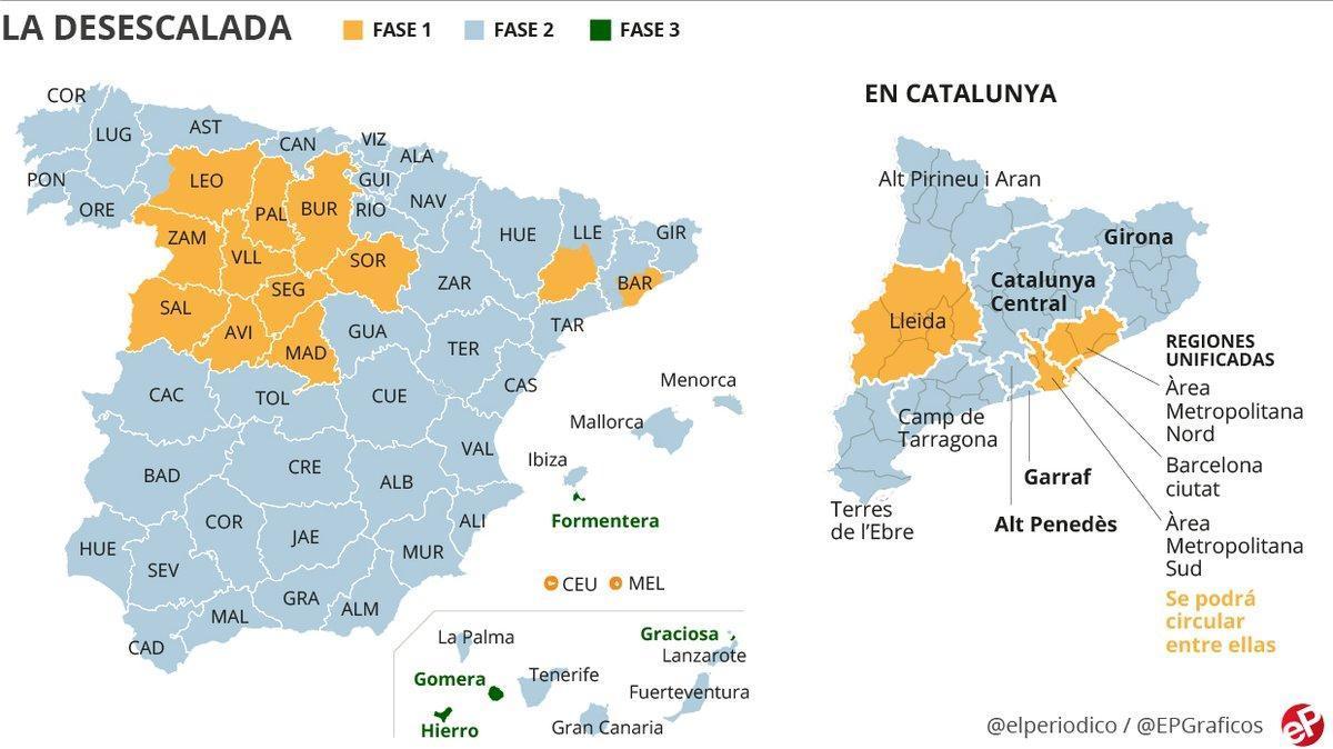 España, dividida en fases: ¿qué se puede hacer en cada territorio desde el 1 de junio?