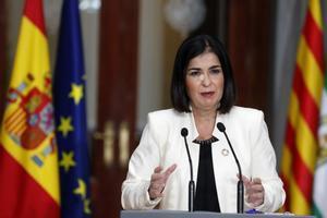 La ministra de Política Territorial, Carolina Darias, en la rueda de prensa posterior a la XXIII Conferencia de Presidentes telemática celebrada este 26 de octubre en el Senado.