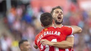 Gallar, que dio la asistencia del gol a Stuani, festeja el 1-0 del uruguayo en Montilivi.