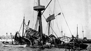 El acorazado 'Maine', hundido en Cuba tras una explosión.