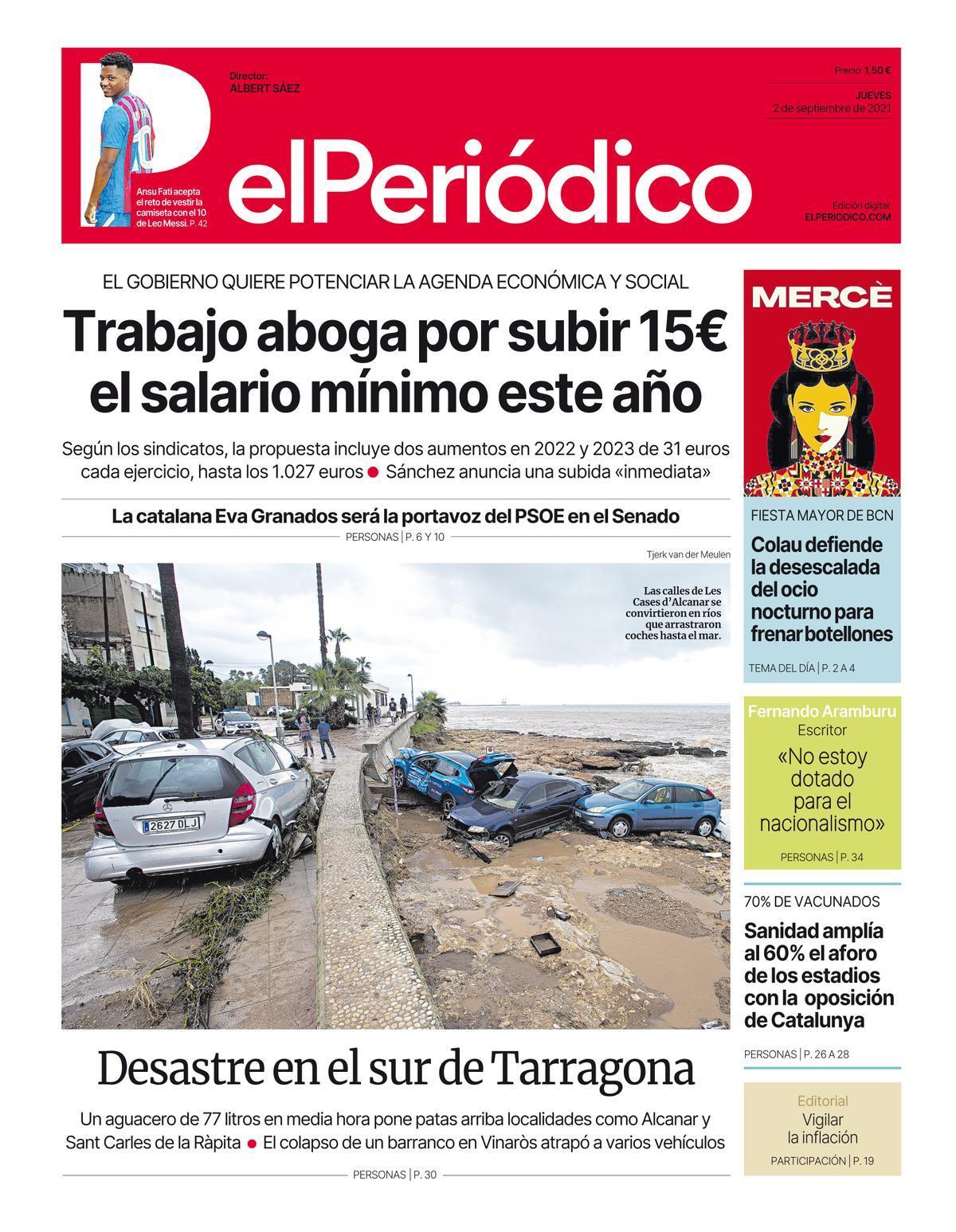 La portada de EL PERIÓDICO del 2 de septiembre de 2021