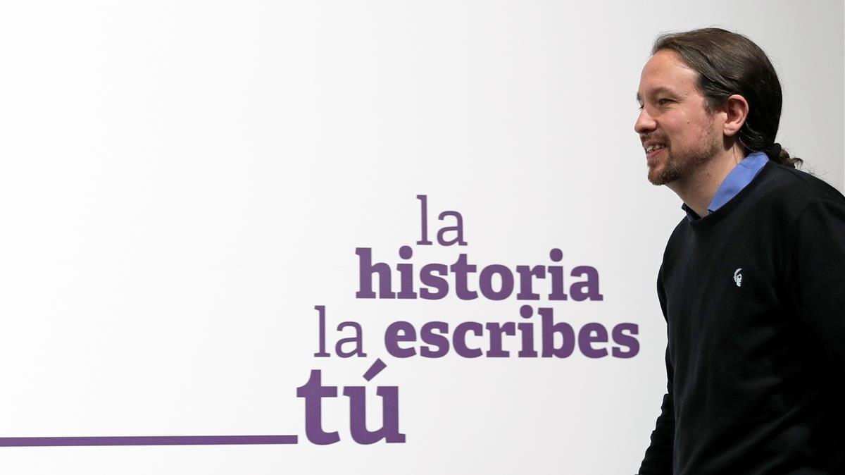 El líder de Unidas Podemos, Pablo Iglesias, el pasado domingo, tras conocer los resultados electorales.