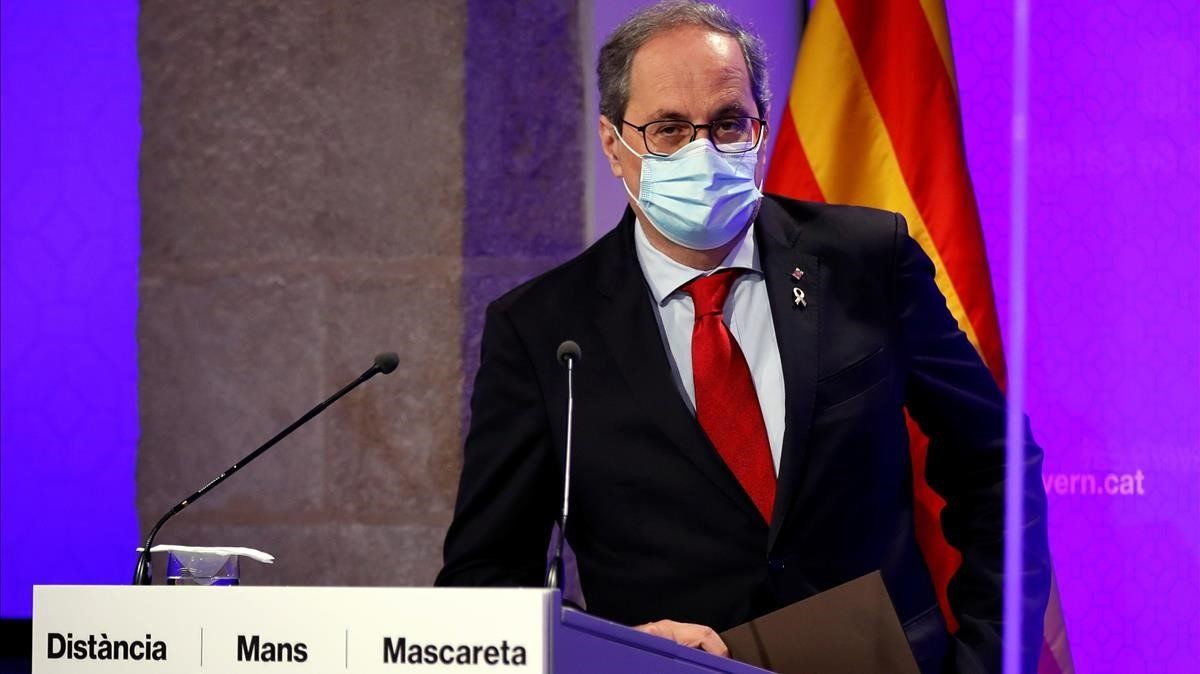 El presidente de la Generalitat,Quim Torra, en rueda de prensa, el pasado 13 de julio.