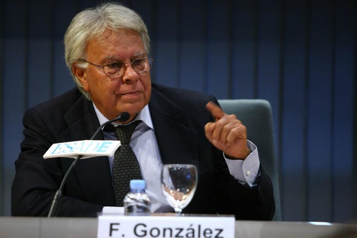 El expresidente Felipe González, durante una conferencia en ESADE, el jueves, en Madrid.