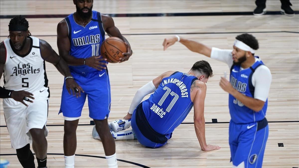 Doncic, en el partido en que se lesionó ante los Clippers.