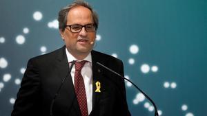 Quim Torra, el pasado 15 de junio, durante su intervención en un foro empresarial en La Seu d'Urgell.