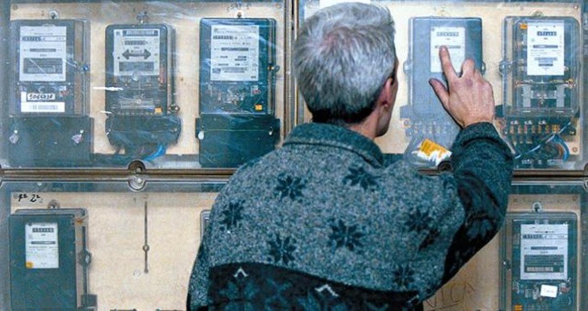 Cuadro de contadores de electricidad en un edificio de viviendas de Barcelona.