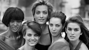 De izquierda a derecha, Naomi Campbell, Linda Evangelista,Tatjana Patitz, Christy Turlington yCindy Crawford, inmortalizadas en Nueva York por Peter Lindbergh, en 1990.
