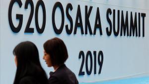 Entrada a la sede de la cumbre del G-20 en Osaka.