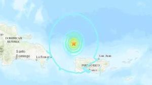 Ubicación del epicentro de un terremoto en Puerto Rico.