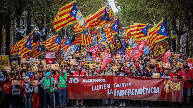 Manifestación independentista convocada por la ANC en Barcelona