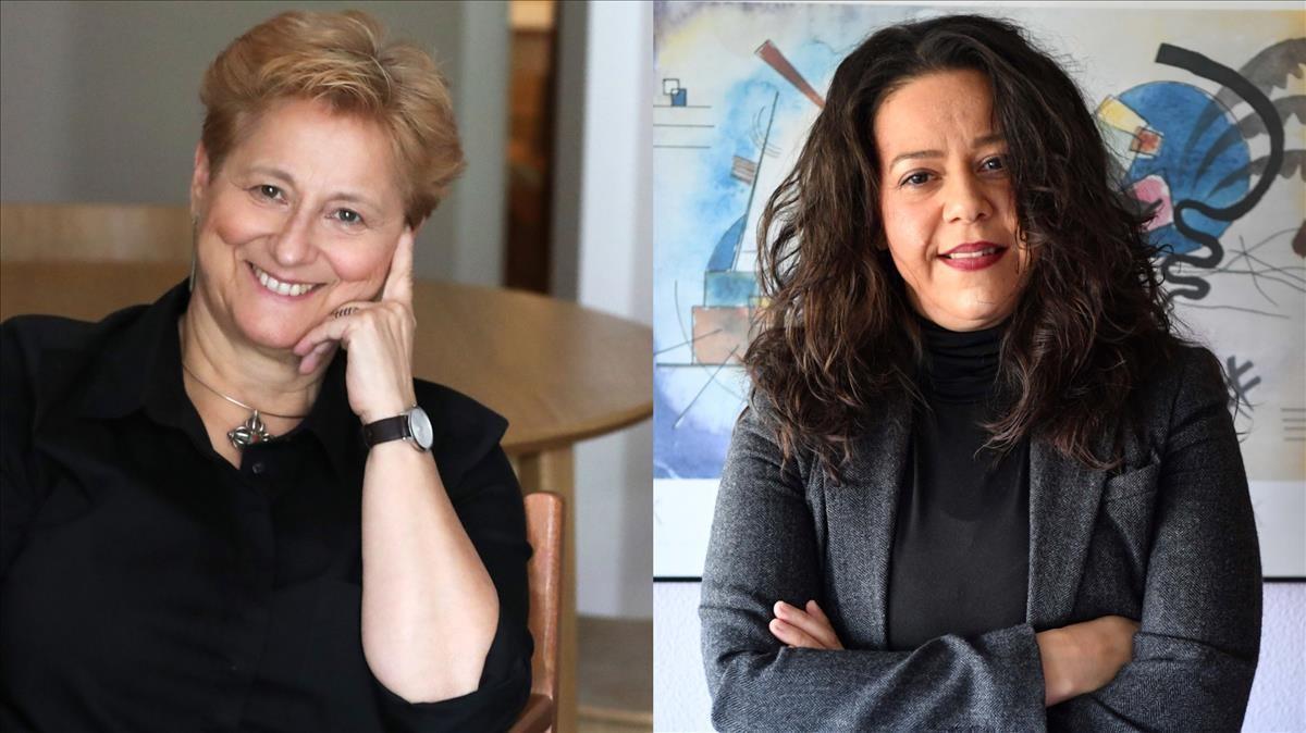 Rosa Cobo (a la izquierda), profesora de Sociología del Género, y la activista Kenia García (derecha).