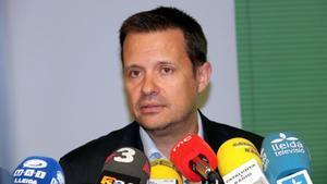 Ricard Calvo durante una comparecenciaen Lleida en abril del 2017.