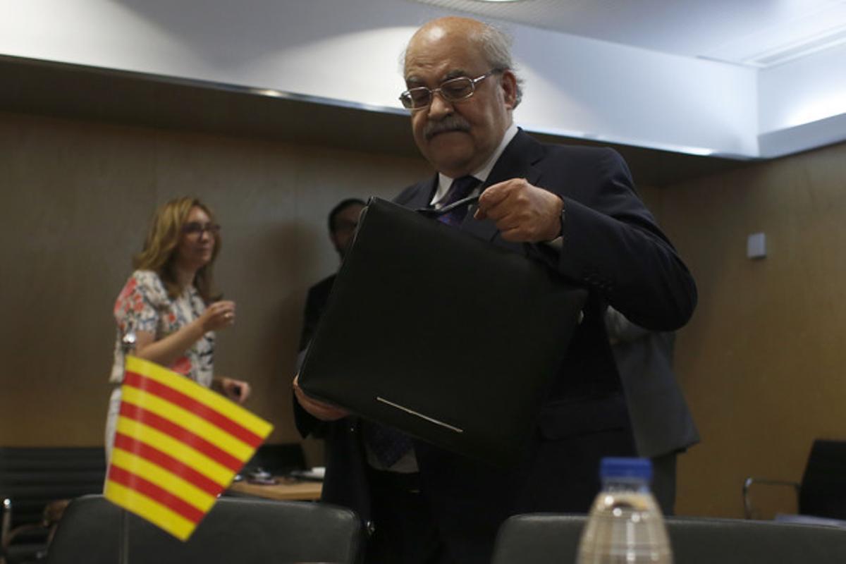Andreu Mas-Colell, el jueves, en la reunión del Consejo de Política Fiscal, en Madrid.