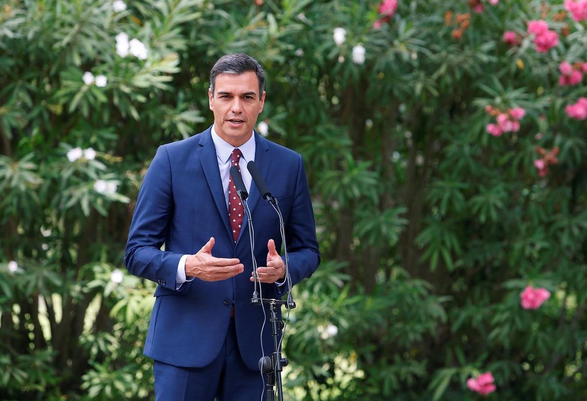El presidente en funciones, Pedro Sánchez, a principios de mes en el Palacio de Marivent de Mallorca.