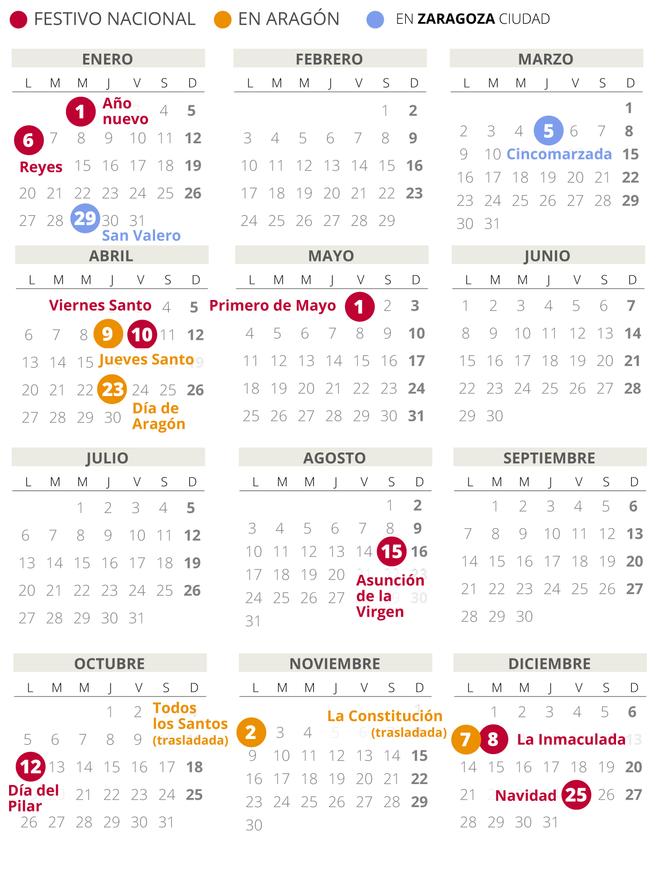 Calendario laboral de Zaragoza del 2020.