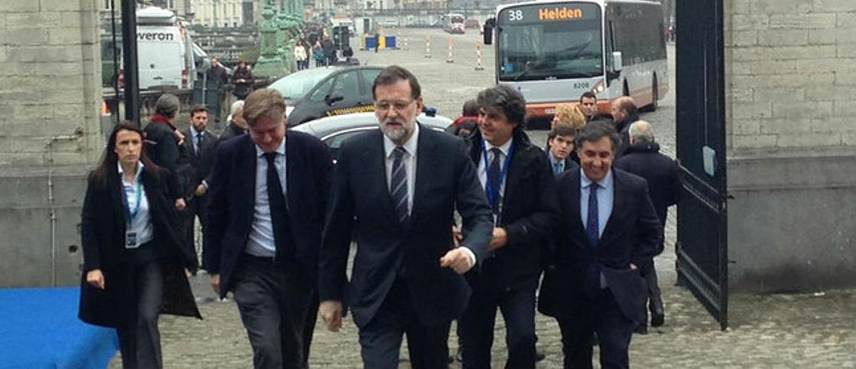 Mariano Rajoy, a su llegada a la cumbre de Bruselas, este jueves.