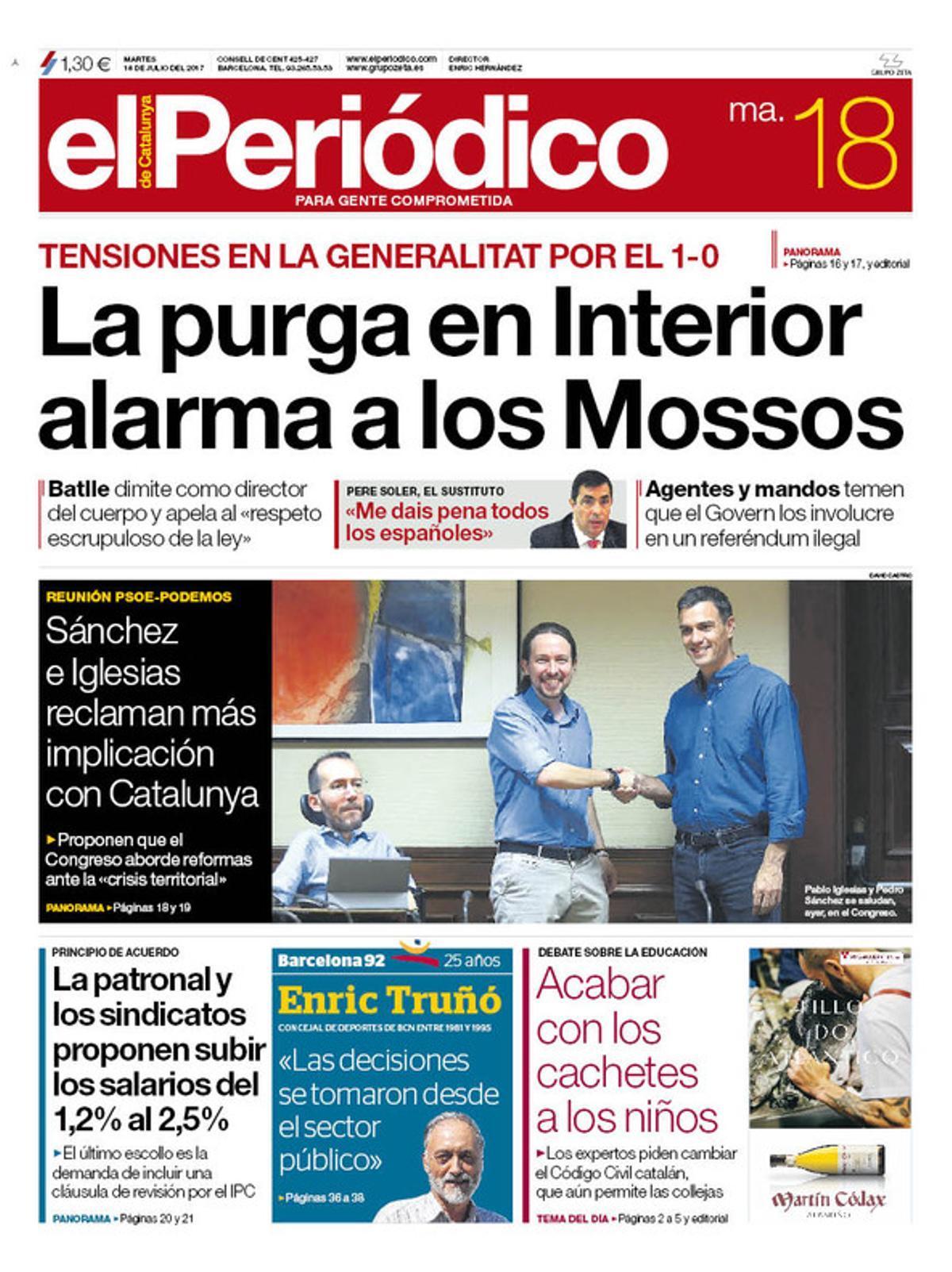 La portada de EL PERIÓDICO del martes, 18 de julio del 2017.