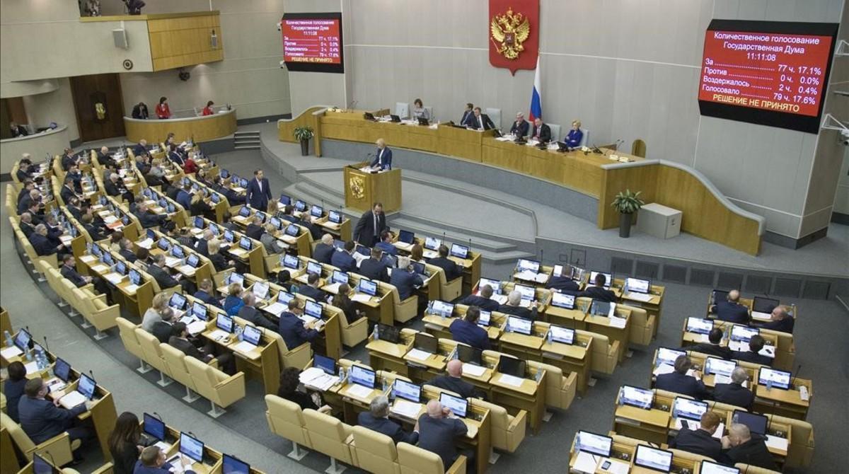 Sesión de debate en la Duma antes de la votación, en Moscú, este miércoles.