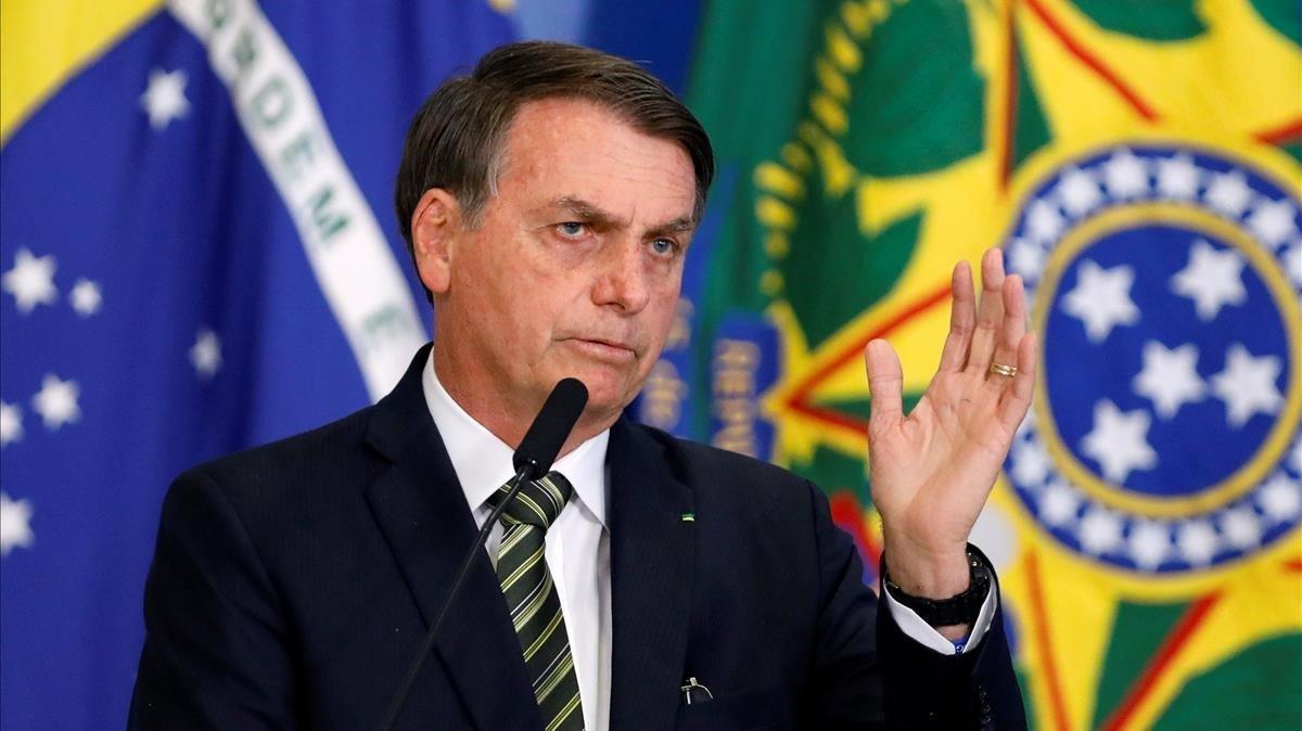 El presidente brasileño, Jair Bolsonaro, durante un acto en Brasilia este martes.