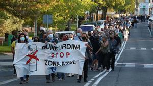 Manifestación en Pamplona contra la zona azul en el barrio de la Txantrea, el pasado 9 de septiembre.