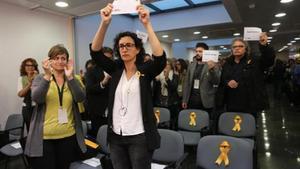 La secretaria general de ERC, Marta Rovira, en una reunión del consejo nacional del partido