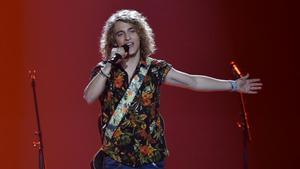 Manel Navarro, durante su actuación en el Festival de Eurovisión, en Kiev, en representación de TVE.